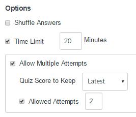 quiz options settings